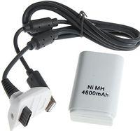pil takımı kablosu xbox toptan satış-50 takım / grup 4800 mAh Şarj Edilebilir Pil Paketi ile Microsoft Xbox 360 Kablosuz Denetleyicisi için USB Şarj Kablosu ile Ücretsiz Shiping