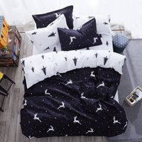 Wholesale Giraffe Comforters - Black and White Twin king queen size Kids polyester bed sheet comforter duvet covers Christmas animal print Giraffe bedding set