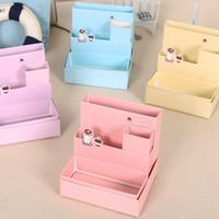 Wholesale Wood Desktop Box Organizer - DIY Paper Storage Box Cute Foldable Mini Desktop Case Colorful Eco Friendly Cosmetic Finishing Organizer New Arrival 2 1dl B R