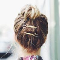 saç tokası tiaras toptan satış-Avrupa Tasarımcı Takı Tokalar Altın Gümüş Makas Saç Klip Saç Tiara Tokalarım Kadınlar Için Saç Aksesuarları