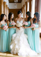 ingrosso damas vestiti-2018 Mint Green Empire Long Abiti da damigella d'onore Chiffon Sweetheart Neck Chiffon Vintage Maid Of Honor Abiti Vestidos Damas De Honor