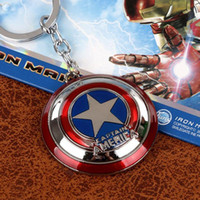 Wholesale Cheap Chains Pendants Men Wholesale - Wholesale Super Hero The Avengers Captain America Shield Metal Keychain Pendant Key Chain Chaveiro Gift For Men Boys Cheap[CA12069*10]