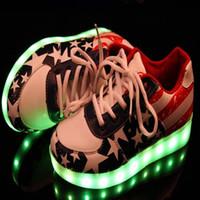 Wholesale Boy Shoes Retail - Retail Man Woman Shoes Kids Sneakers Boys Girls American Flag Stylish LED Light Luminous Couple Sports Athletic USB Shoes NBKS90225-1