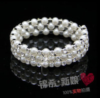Wholesale Wide Bracelet Pearl - Bridal Accessories Fashion multilayer pearl diamond bracelet wide The bride intertwined spiral bracelets Bridal Jewelry bracelets