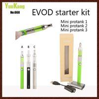 Wholesale Evod E Cig Starter Kit - 650 900 1100mah EVOD starter kit With mini protank atomizer 1 2 3 EVOD Battery box packing e cigarette kits VS CE4 Vision spinner e cig