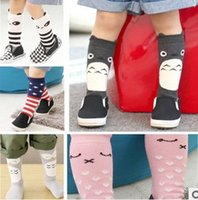 Wholesale Girls Lace Pantyhose - New Boys Girl Lace Stocking Antiskid Sock Tights Pantyhose kid's Knee High Socks Cotton Cartoon Children's Socks 7 Styles 10pairs lot A3135