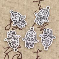 alliage hamsa à la main achat en gros de-80pcs breloques main hamsa 24 * 19mm Antique, pendentif en alliage de zinc, argent tibétain vintage, bricolage pour collier