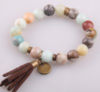 Wholesale Agate Sale - Hot Sale Jewelry Energy Bracelets Made By Antique Bronze Tassel Beautiful Natural Faceted Amazonite Stone Bracelet bangle