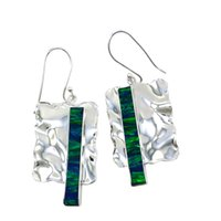 Wholesale Discount Handmade Jewelry - Silver jewelry factory provide handmade Opal earrings for Women with Fashion style Earrings on discount 5 colors Dangle for selected