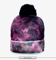 Wholesale Galaxy Beanies - Wholesale-Galaxy Black Pattern 3D Digital Printed Beanie Pompon Winter Women Knitted Hat Unisex Different Pattern Pattern 3D Stereo Hats