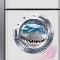 kreş duvar sanat hayvanları toptan satış-Büyük diş köpekbalığı derin deniz balık denizaltı portholes duvar çıkartmaları çocuk odası dekor 025. ev çıkartmaları hayvan kreş duvar sanat 3.0 ev decoratio
