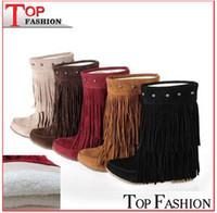 botas baixas botas venda por atacado-2014 das mulheres de 3 camadas franja borlas botas de salto plana zapatos decoração mid-calf slouch shoes plus size34-43 botas zapatos RA631