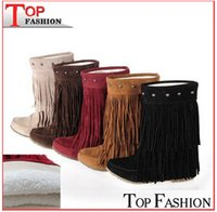 Wholesale Brown Fringe Boots - 2014 Women's 3 Layer Fringe Tassels Flat Heel Boots Zapatos Decoration Mid-Calf Slouch Shoes Plus Size34-43 botas zapatos RA631