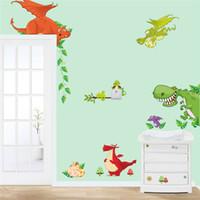 neveras medianas al por mayor-arte de la pared del dinosaurio decoraciones para el hogar pegatinas de animales niños decoración de la sala de dibujos animados diy adesivo parede niños tatuajes de pared zooyoocd002