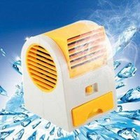 Plastic bladeless floor fan - Free DHL whole sale Mini USB Fan Electric Bladeless Air Conditioner Cooling Fan No Leaf Portable Table Refrigeration Fan