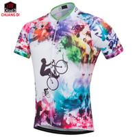 розовый трикотаж для мужчин оптовых-Настроить короткие мужские / женские велосипедные трикотажные изделия красивые mtb велосипед Велоспорт одежда дышащий розовый спортивная одежда