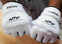 Wholesale Wholesale Karate - Leather Half Finger Fight Boxing Gloves Mitts Sanda karate Sandbag taekwondo Protector For Boxeo Mma Muay Thai kick boxing