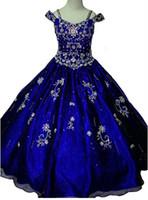 Wholesale girl models for sale - Royal Blue Beads Little Girls Pageant Dresses Crystal Girl Communion Dress Ball Gown Kids Formal Wear Flower Girls Dresses for Wedding