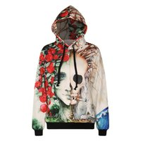 Wholesale Outwear Print Woman - w1208 Alisister funny creative sweatshirt 3d print skull flowers floral hooded pullovers men women hoodies coat men clothes outwear