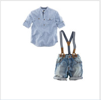Wholesale Boys Oxford Shirts - Baby Boys Clothes Sets Outfits Children Long Sleeve Shirt+Suspender Trousers 2pcs Kids Clothing Handsome Boy Gentleman Shirt+Suspender Jeans