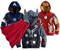 Wholesale Outwear Children Boy - drop shipping Retail boys kids Avengers iron man captain america hoodies jackets children baby for autumn spring clothes Outwear