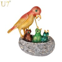 U7 Mum Bird Feeds Her Kids Pin Broche Unique Fashion Jewelry Cute Colorful Birds Nest Animal Broches Regalo de las mujeres B139