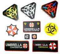 Wholesale Resident Evil Umbrella Corporation - PVC Resident Evil Patch Tactical 3D Umbrella Corporation Patches Military Badge Rubber Armband 10pcs