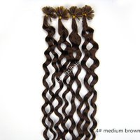 "Wholesale Bonded Remy 24 - Deep Curly Style Nail-hair Bundles 18""-26"" 50g 100s 4# Medium Brown Brazilian Malaysian Indian Peruvian Virgin Remy Human Hair Extension"