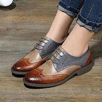 Wholesale Women Vintage Oxford Shoes - Wholesale- 2017 New brand british style Color matching genuine leather sheepskin women's Oxford shoes vintage brockden flat shoes for women