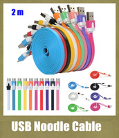 Wholesale Lg G2 Cell Phone - usb cable V8 Micro Noodle Charging Data Flat Thin Sync Cords USB Charger Cable 2m For Samsung Galaxy S3 S4 HTC LG G2 Cell Phone CAB003