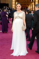 Wholesale Marchesa Lace Dress - 2015 GEORGINA CHAPMAN-Marchesa Celebrity Evening Dresses Maternity Style Crystal Beading Chiffon Prom Dress Bateau Neck Sheer Lace Sleeves