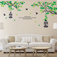 Wholesale Tree Birdcages Sticker - Tree Branches Birdcage Birds Wall Decals for Living Room Bedroom Removable Wall Stickers Murals