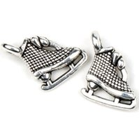 Wholesale Shoes Tibetan Silver Charms - Dotted Dots Ice Skating Shoes Charms 200pcs lot Tibetan Silver Pendants Jewelry DIY Jewelry Findings & Components 11X12mm
