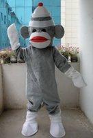 Wholesale Adult Sock Monkey Costumes - Hot 2016 Professional New Grey Sock Monkey Mascot Costume Fancy Dress Adult Size