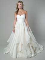 Wholesale Sweetheart Wedding Dress Layer Organza - Elegant Sweetheart Backless Ball Gown Wedding Dresses 2016 Ivory Layers Organza Custom Made Bridal Gowns with Covered button