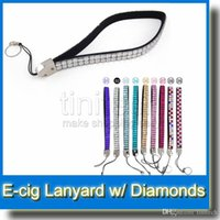 Wholesale Necklace Ego Diamond - Bling Bling Diamond Necklace Lanyard String Neck Chain Lanyard Electronic Cigarette Neck Sling EGO Lanyard Necklace String with Diamond