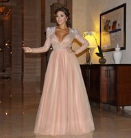 Wholesale Crystal Sash Band - Myriam Fares Pink Evening Dresses Plunging V Necking Long Sleeves Crystal Celebrity Dress Prom Gown Free Shipping Band