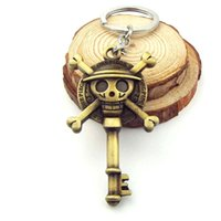 Wholesale Onepiece Men - One Piece Keychain vintage bronze pendant Luffy pirate skull Figure key chain jewelry toy accessories keyring onepiece 12pcs lot