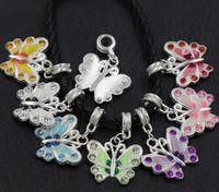 Wholesale Enamel Beads Big Hole - Silver Plated Enamel Rhinestone Butterfly Charm Beads 7Colors 56pcs lot Big Hole European Bead Fit Bracelets 34X22mm B1559