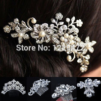 Wholesale Hairs Accesories - Wholesale-Bridal Wedding Flower Crystal Rhinestones Diamante Pearls Women Hair Clip Comb Hair Accesories
