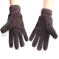 кожаные перчатки коричневые оптовых-Wholesale-New 2015  pigskin gloves knitted wrist men fashion warm gloves genuine leather male winter solid brown color 1-zp