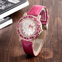 Wholesale Cheap Watches For Children - Holiday Sale New Arrival Cheap Lovely Girls Hello Kitty Women Watch Children Fashion Kids Crystal Wrist Watch For Gift.