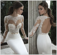 Wholesale Drape Neck Shirt - 2016 Berta Lace Mermaid Wedding Dresses High Neck Long Sleeves Sheer Long Sleeves Open Back Bridal Gowns Summer Beach Wedding Gowns Under 60