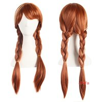 Wholesale Long Brown Braided Wig - New Frozen Cosplay Wigs Long Braided Hair Wigs Synthetic Anna Elsa Hair Wig Thick Brown Wigs Party Frozen Figure Hairs Thanksgiving Gift