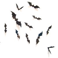 Wholesale Televisions Sold Wholesale - Hot Selling 12 PCS Black PVC 3D Bat Wall Sticker Decal Decoration for Halloween Day Halloween Stereoscopic Bat Wall Mural