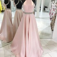 vestidos de fiesta de diamantes sin espalda al por mayor-Halter A Line Vestidos de baile con Diamond Sash Baby Pink Backless Satin Vestidos de noche Vestidos de graduación