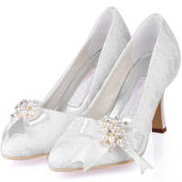 Wholesale White Satin Heels Bow - 2015 Elegant White Ivory Lace Wedding Shoes With Pearls 9cm Stiletto Heels Pointed Toe Women Prom Party Evening Dress Wedding Bridal Shoes