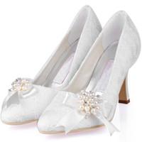 elegante vestido de novia de perlas al por mayor-2019 elegante blanco marfil encaje zapatos de boda con perlas 9cm tacones de aguja del dedo del pie acentuado mujeres Prom fiesta vestido de noche de la boda zapatos de novia