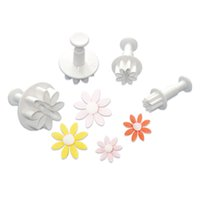 Wholesale Cookie Cutters Spring - 4Pcs Mini Sunflower Fondant Cake Tool New Arrival Spring Cake Mold Biscuit Cookie Chocolate Jelly Decorating Embossing Cutter