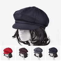 Wholesale men stylish wool hats - Stylish Chic Caps Unisex Women Men Wool Eight Panel Newsboy Cap Warm Flat hat Cabbie Golf Beret Ne